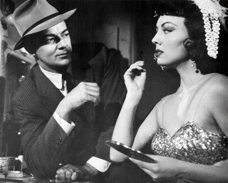"Cornel Wilde and Helene Stanton in ""The Big Combo."""